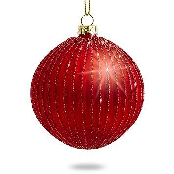 Christbaumkugeln Amazon.Sikora 4er Set Ausgefallene Christbaumkugeln Highlights Aus Glas Rot Grosse 8 Cm Farbe Modell Modell Helsinki Rot