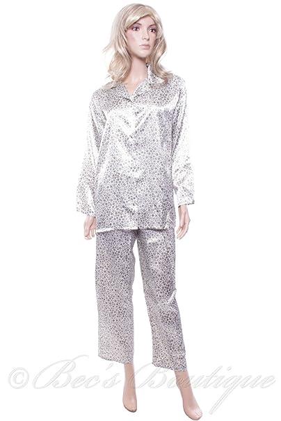 Marlon diseño de flores de Retro pijama de raso traje de neopreno para mujer: Amazon.es: Ropa y accesorios