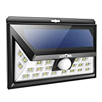 Litom Super Bright 24 LED Outdoor Motion Sensor Solar Lights Wide Angle with 3 LEDs Both Side-1 Pack