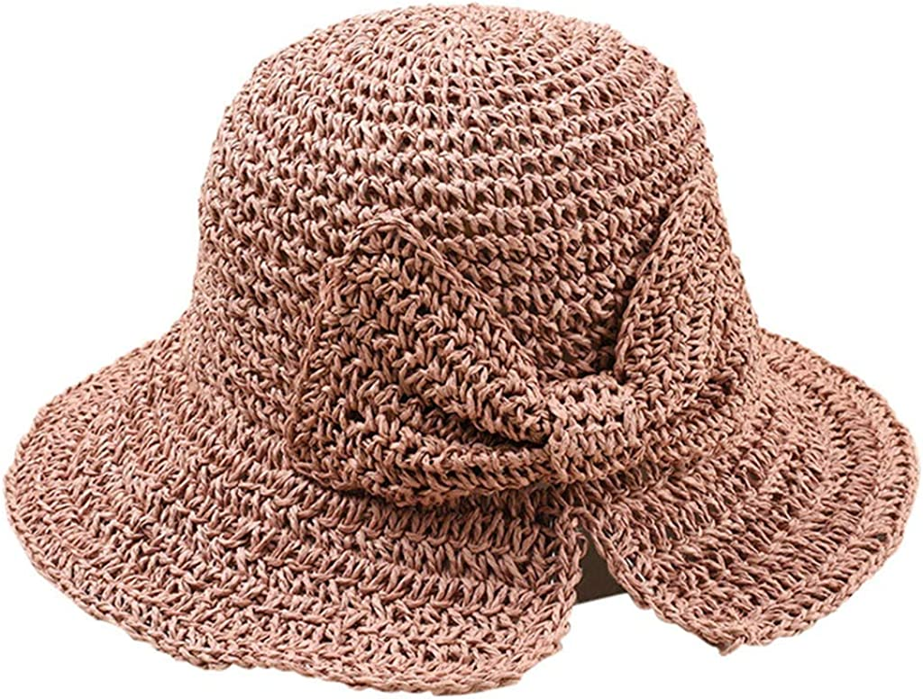 Summer Womens Ladies Beach Sun Visor Roll Up Foldable Stripe Floppy Straw Hats