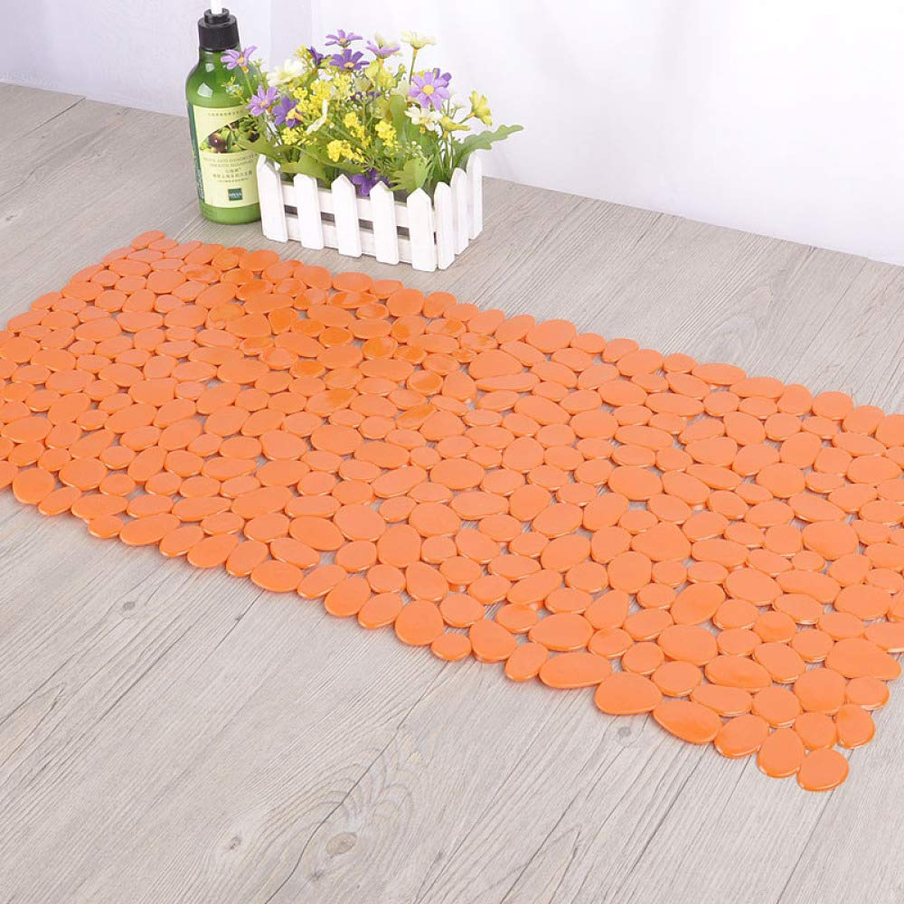PLLP Bathroom Mat, Classic Small Stone Trendy Fashion Green PVC Bathroom Mat, Bath Mat, Rectangular Medium,Orange,7036cm