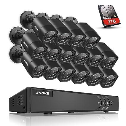annke 16 Canales 1080P Lite CCTV Grabador de vigilancia con 16 Verdaderos 720P HD cámaras de