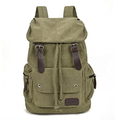 Amazon.com | Canvas Backpack Casual Shoulder Bag for Girls and ...