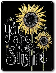 Goutoports Vintage Two Sunflower Retro Tin Signs You are My Sunshine Farmhouse Home Wall Decor Metal Signs 7.9x11.8 Inch