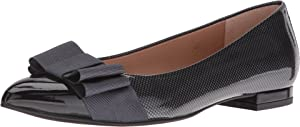 French Sole Women's Onstage Black/Grey Suede/Patent Flat 10 M