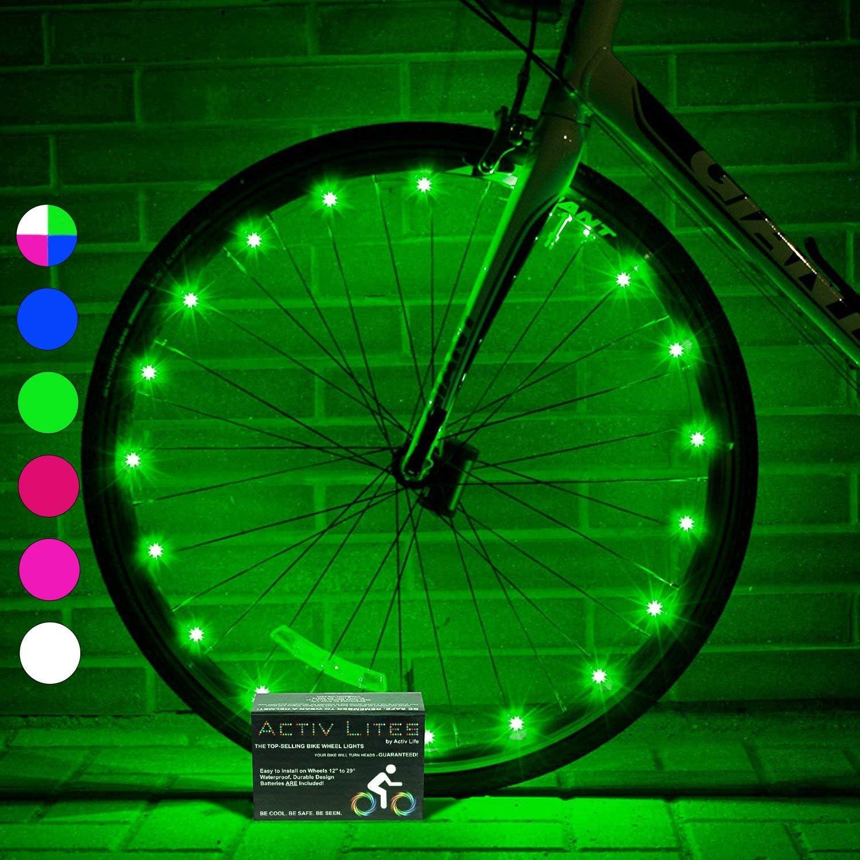 Activ Life Luces LED para Ruedas de Bicicletas Baterías Incluidas. Obtén un 100% de Brillo y Visibilidad Desde Todos los Ángulos para una Máxima Seguridad y Estilo (Conjunto para 2 Ruedas)