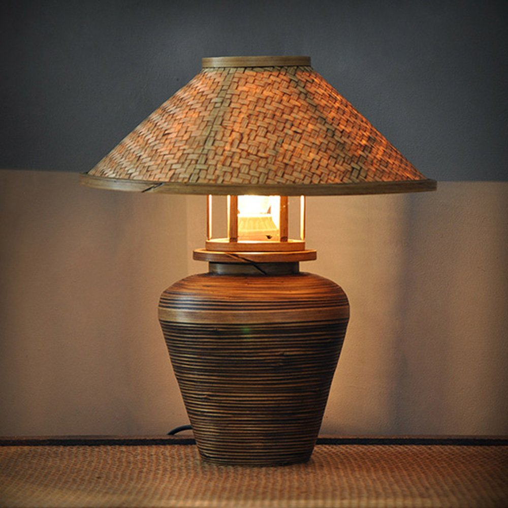 Thai Bamboo Round Pass Table Lamps Hand-made Living Room Hotel Room Lighting Table Lights Home Lighting by WINZSC