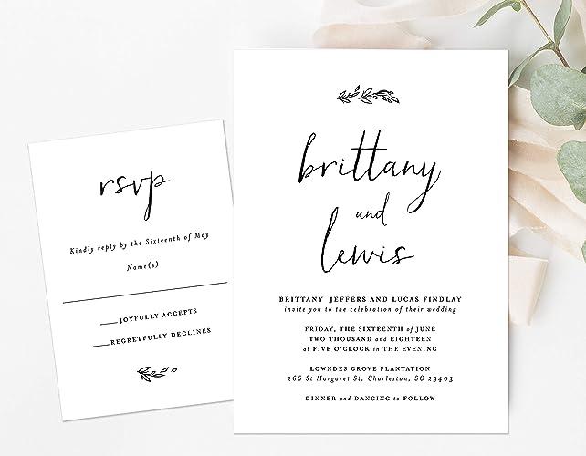 Amazon Com Black And White Wedding Invitation Simple