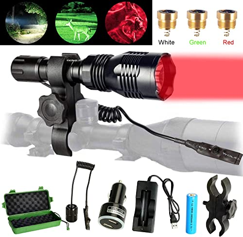 DOTSOG Tactical Hunting Flashlight Kit,with Interchangeable 3 LED Red, Green, White Modules,High Power Predator Night Flashlight Torch with Scope Mount for Hog Coyote Coon Bobcat Raccoon Varmint