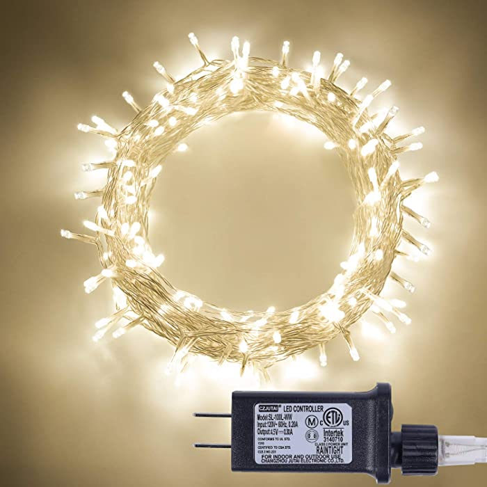 Milky Way Ave 100 LED Fairy String Lights with 8 Modes, Safe Voltage Transformer Warm White Christmas Lights for Homes, Wedding, Party, Indoor and Outdoor Decoration.