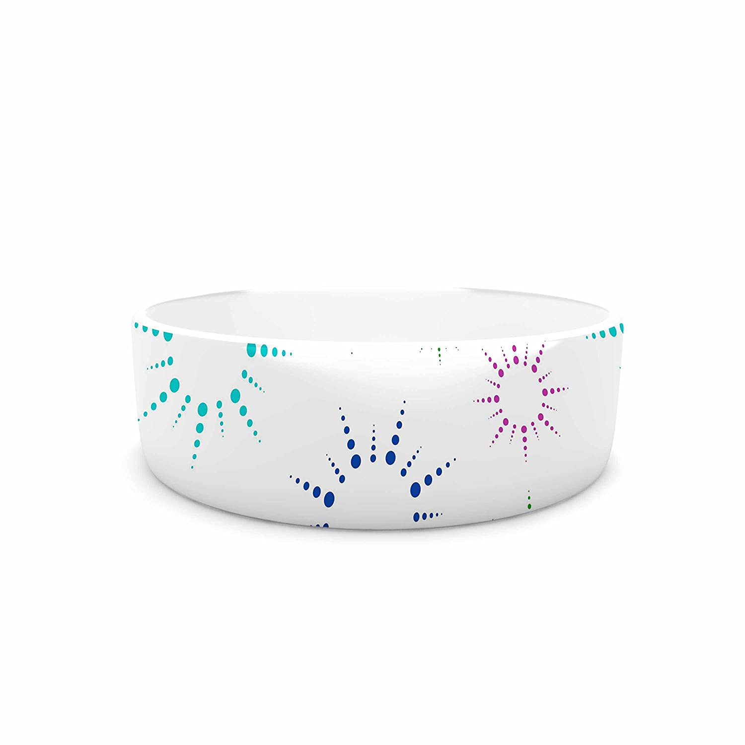 KESS InHouse NL Designs Rainbow Fireworks  Multicolor Pattern Pet Bowl, 7