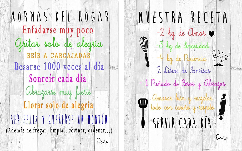 Dcine Set 2 Cuadros Frases Decorativos/Madera/Normas del hogar/Nuestra Receta/Regalo 19 cm x 25 cm x 4 mm Cada Cuadro: Amazon.es: Hogar