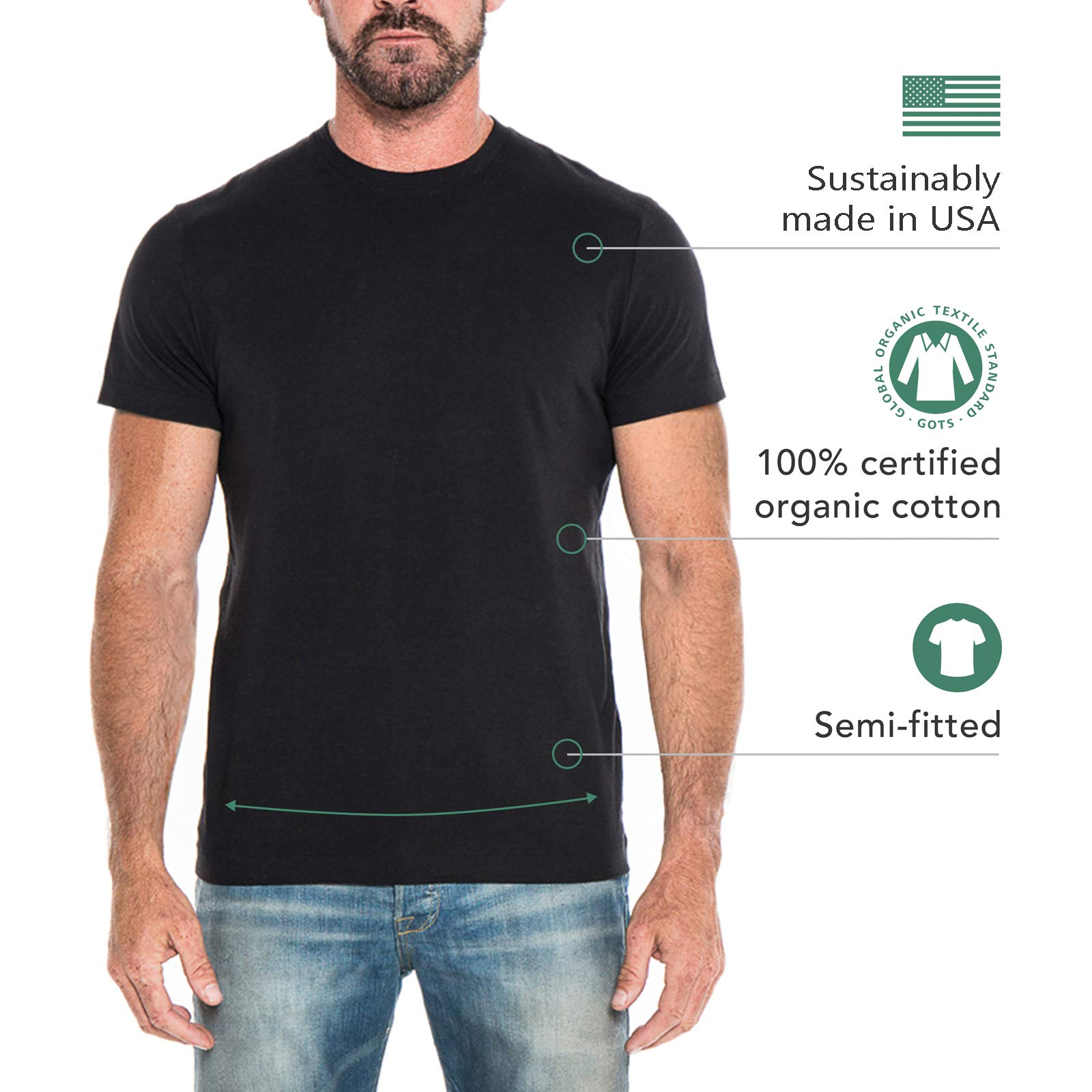 d3dfccf14c02f THE CLASSIC T-SHIRT COMPANY Men s Lightweight 100% Organic Cotton  Semi-Fitted Crewneck Tshirt – Made in USA