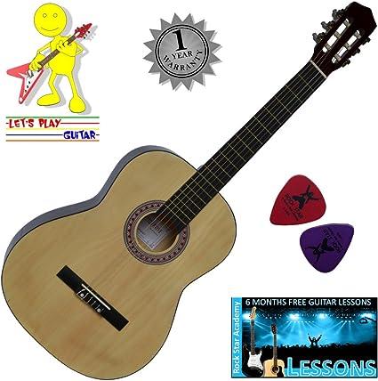 Tamaño completo 4/4 (39 pulgadas de) clásica guitarra acústica con ...
