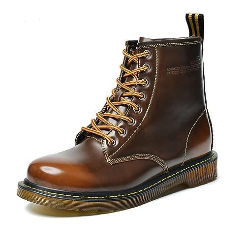 Botines de Cuero Hombres Botas Martin Clásicas Botas de Nieve Cálido Botas de Invierno Impermeables Zapatos de Invierno Cordones Botas de Trabajo Marrón ...