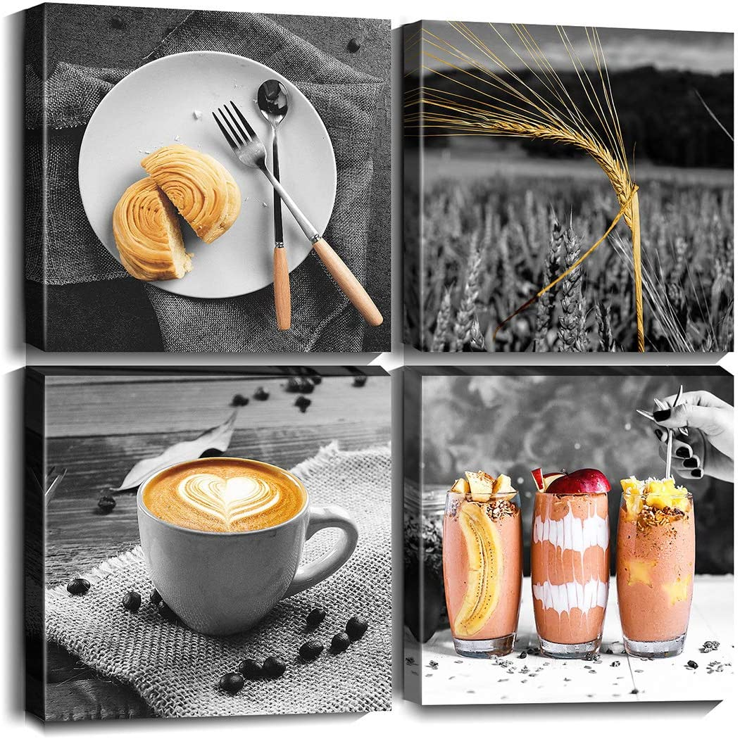 Cortolar Coffee Wall Art Black and White Beige Foods Canvas Print Painting Modern Picture for Restaurant Dining Room Kitchen Decoration (12