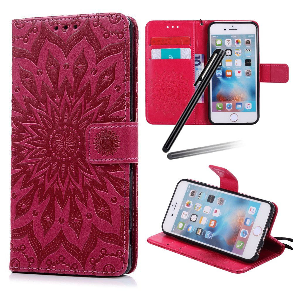 iPhone 6S Plus Stand Case, iPhone 6 Plus Wallet Case, iPhone 6S Plus Flip Case, iPhone 6 Plus PU Case Girl, SKYMARS Sunflower Creative Design Embossed PU Leather Flip Kickstand Cards Slot Wallet Magnetic Closure Protection Book Style Case for iPhone 6 Plus