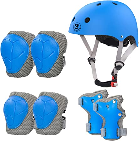 DE 7pc Knieschutz Ellbogenschützer Safety Fahrrad Helm Skateboard Protective Set