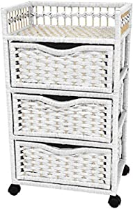 "Oriental Furniture 31"" Natural Fiber Chest of Drawers on Wheels - White"