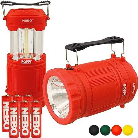 NEBO Poppy Lantern 300 Lumen LED Spot Light Flashlight Pop-Up Bundle with 3x Extra Nebo AA Batteries Yellow