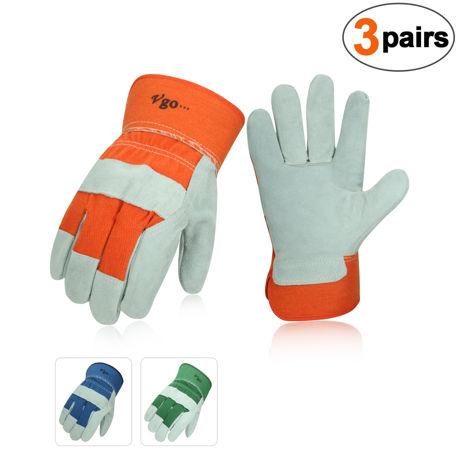 Vgo 3-Pairs Cow Split Leather Men's Work Gloves with Safety Cuff (Size L,Blue+Orange+Green,CB3501)