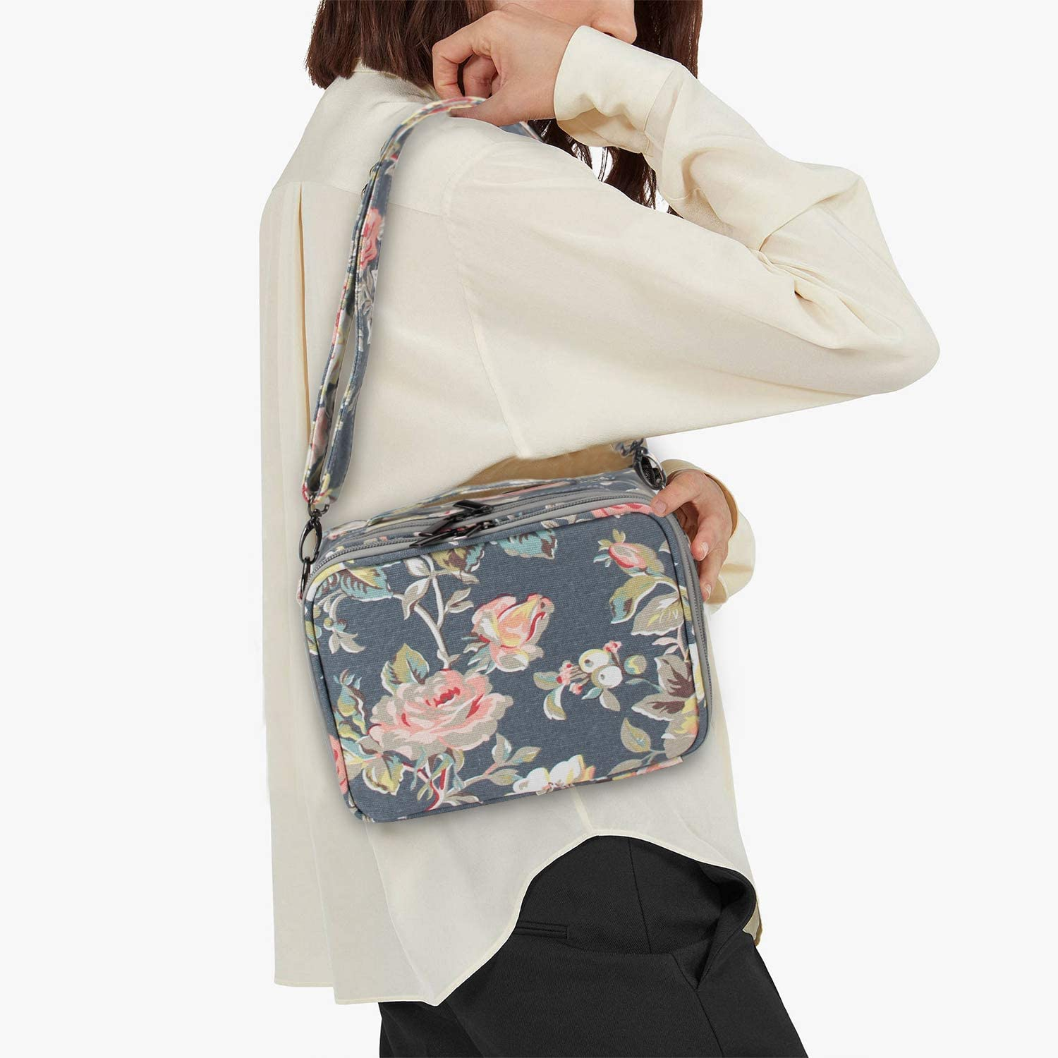 Teamoy Camera Case Compatible with Fujifilm Instax Mini 9 Travel Carrying Storage Bag for Instant Camera and Accessories Peony Bag Only