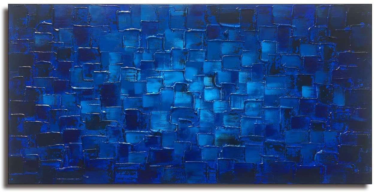 MyArton Textured Abstract Squares Canvas Wall Art Hand Painted Modern Dark Blue Oil Painting for Decoration Ready to Hang 48x24inch