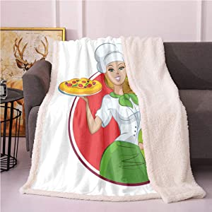 SeptSonne Pizza Fleece Blanket,Food Cartoon Woman with Italian Chef Clothes Flannel Bed Blankets,for Baby Boys Throw Blanket(60x80 Inches,Lime Green Dark Pink White and Earth Yellow)