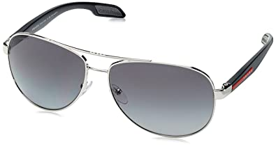 ba08c01c5e7 Image Unavailable. Image not available for. Color  Prada Sport PS53PS  1BC5W1 Grey Steel Benbow Pilot Sunglasses ...