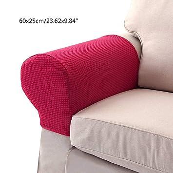 Umiwe Protector de Brazo Sofá Funda para Brazo sillón rascador para Gatos Elástico Tela Cubre in Rojo marrón Beige Gris Blanco Crema Cian 1 par (Rojo): ...