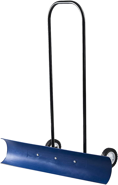 The Snowcaster 36-inch Bi-Directional Wheeled Snow Shovel Pusher and Barn Shovel