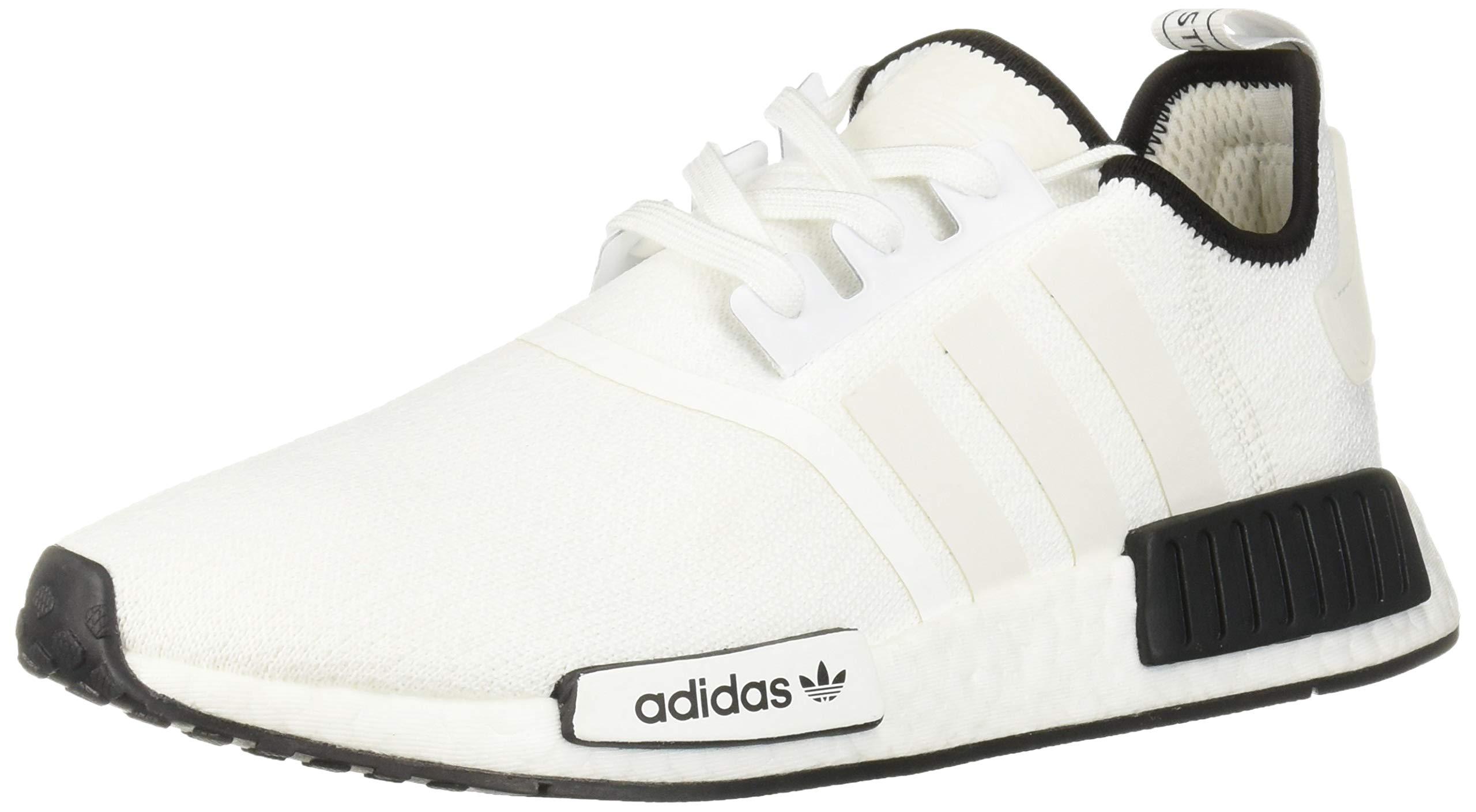 adidas Originals Men's NMD_R1 Running Shoe, Pure WhiteBlack, 10.5 M US