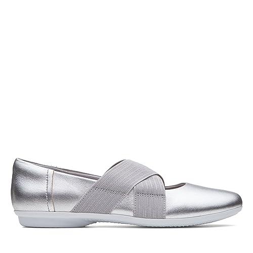 25c88af21b3 Clarks Gracelin Shea Leather Shoes in Silver Metallic Standard Fit Size 3