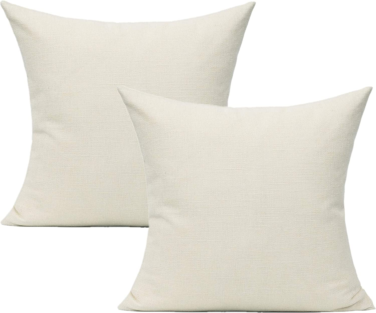 Cream Throw Pillow Covers for Outdoor Patio Furniture Beige Cushions Square Solid Milk White Burlap Cases 16x16 Accent Decorations Sunbrella Seat Sofa Bed Couch Set of 2