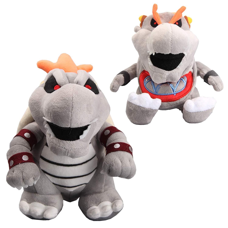William Super Mario 10'' Dry Bowser & 7'' Dry Bowser Jr Grey Bone Koopa Plush Toys Set of 2 pcs by William