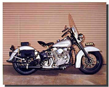 Silver Panhead Harley Davidson Police Motorcycle Wall Decor Art Print  Poster (16x20) Part 84