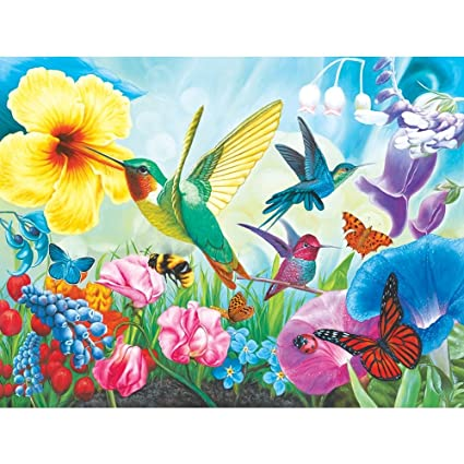 High Quality Hummingbird Garden 1000pc Collector Puzzle By: Corinne Ferguson