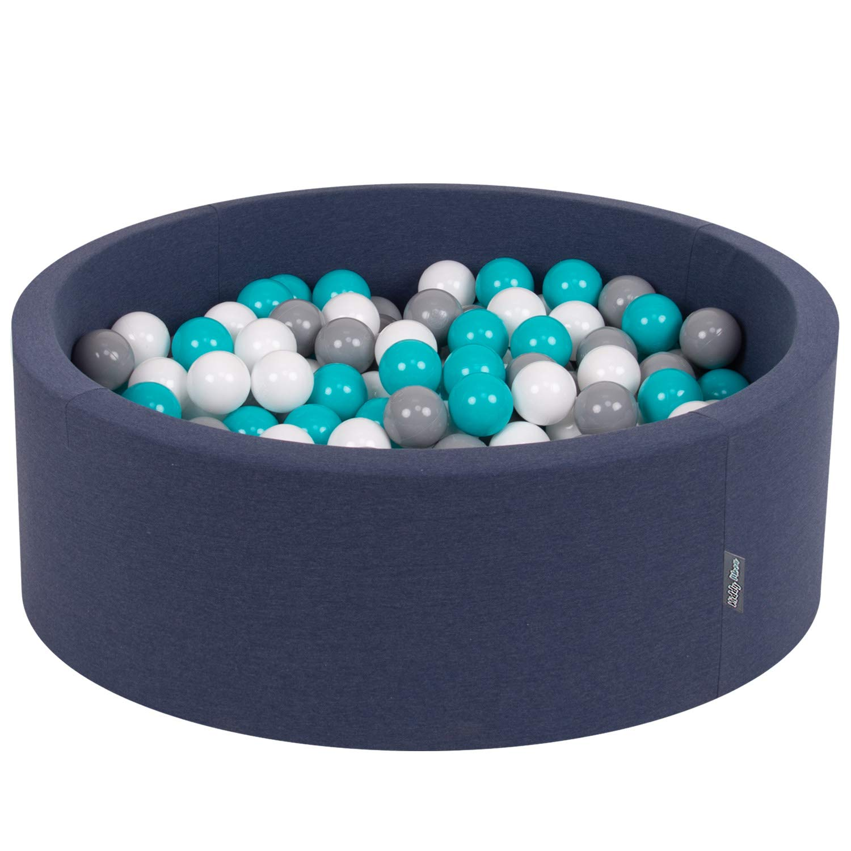 Azul Marino:Gris,Blanco,Turquesa KiddyMoon 90X30cm//300 Bolas /∅ 7Cm Piscina De Bolas para Ninos Hecha En La UE