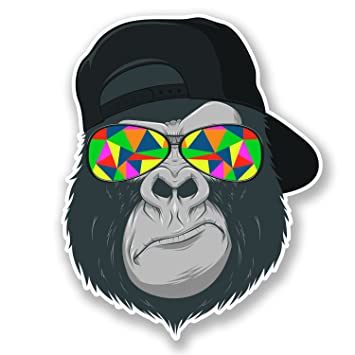 2 x cool gorilla vinyl stickers decal laptop car bike helmet ape monkey 6696