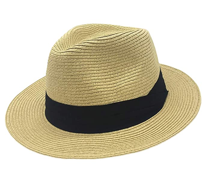 1ca9200add2 Straw Sun Hat for Women Summer Fashion Fedora Wide Brim Paname Hat Packable  Travel Beach Floppy