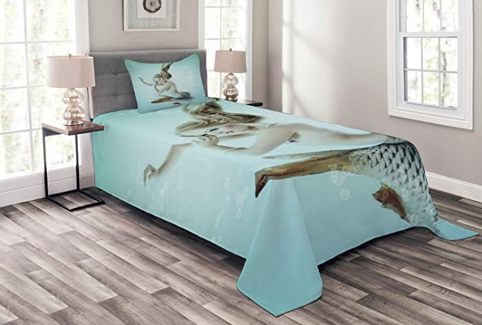 Ambesonne Mermaid Bedspread, Floating Mermaid with Water Bubbles Underwater Themed Artwork Print, Decorative Quilted 2 Piece Coverlet Set with Pillow Sham, Twin Size, Seafoam Beige