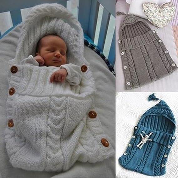 Envolver Bebé Recién Nacido Bolsa Dormir Niñito Cobija Bebés Tejer ...
