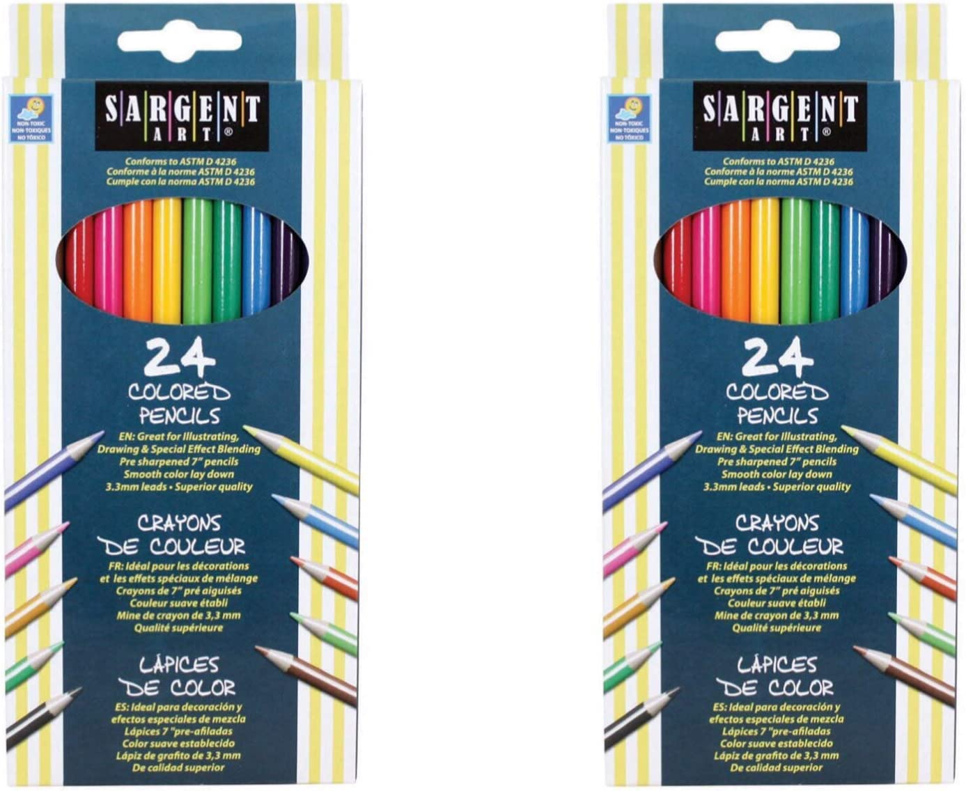 Sargent Art 24-Count Assorted Colored Pencils for adult children Coloring Book .
