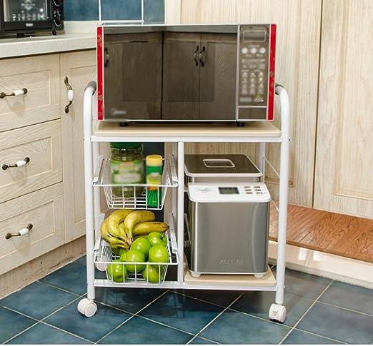 Muebles de cocina Estante de horno de microondas Móvil Coche de ...