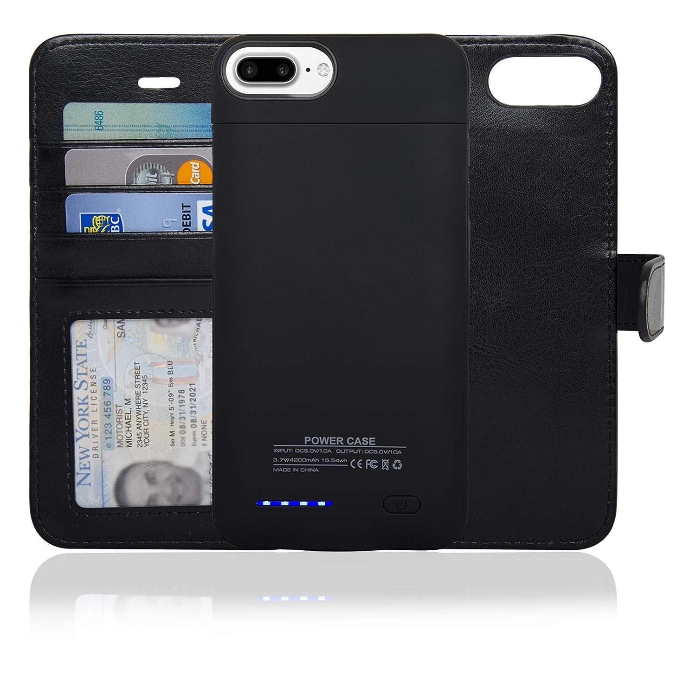 231c2b96ec40 Amazon.com  navor RFID Folio Wallet Magnetic Detachable Power Battery Case  4200mAh Compatible for iPhone 7 Plus   6 Plus   8 Plus  5.5 Inch  - Black   Cell ...