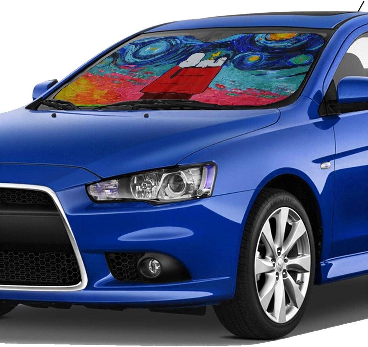 Sonnenschutz f/ürs Auto h/ält das Fahrzeug k/ühl und blockiert UV-Strahlen Windschutzscheibe Windschutzscheibe ZXHGLL Snoopy Watercolor Auto Sonnenschutz
