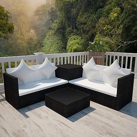 Tidyard Conjunto Muebles de Jardín de Ratán 14 Piezas con 1 Caja de Almacenamiento con 1 Bolsa Impermeable Sofa Jardin Exterior Sofas Exterior Jardin Ratan Conjunto Jardin Ratan Negro: Amazon.es: Hogar