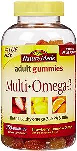 Nature Made Adult Gummies Multi + Omega-3 Strawberry, Lemon & Orange Flavors - 150 CT