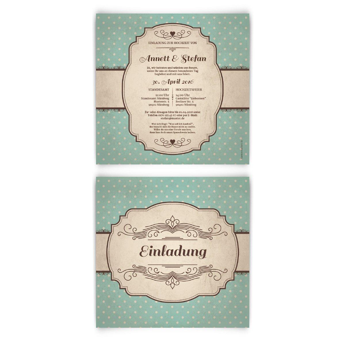 Hochzeitseinladungen 30 stück 50er jahre vintage retro einladungskarten karten einladung amazon de bürobedarf schreibwaren