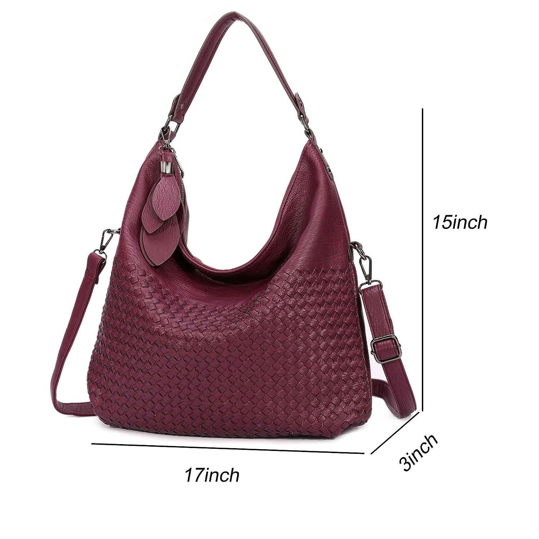 197e865524 Amazon.com  Braided Hobo Bag for Women Leather Purse Shoulder bag Large  capacity Work Bag Stylish Handbags (Wine)  Clothing